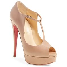 Christian Louboutin 'Alta Poppins' Mary Jane Platform Pump ($995) ❤ liked on Polyvore featuring shoes, pumps, nude leather, mary-janes, peep-toe pumps, christian louboutin pumps, mary jane platform shoes and peep toe mary jane pumps