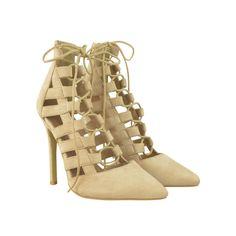 02752eea44282 Nude Suede Gladiator Zip Fastening Court Shoe Stilettos Court Shoes