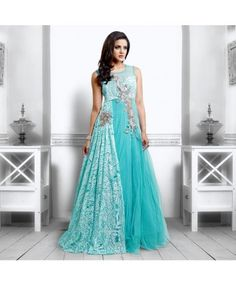 Sky Blue Net Semi Stitched Gown  #ohnineone