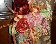 Shabby Hanaging Pillow for Fall Decorating-Velvet Roses, Silk Ribbon, Hand Dyed Applique - Edit Listing - Etsy