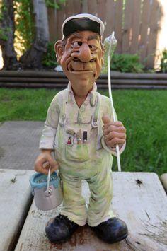 Painter Figurine Comical Character Figurine 8 IN.Warren Stratford Resin New