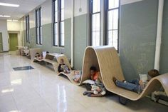 Flying Hallway Carpet Caves! These are so cool! Kids can choose their own special nook to read at which would make silent reading time so much more fun!