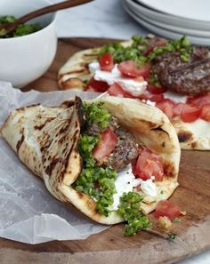 Lamb Burgers with Green Harissa // More Grilled Lamb Recipes: http://fandw.me/Nrw #foodandwine