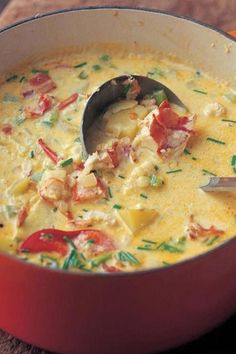 Lobster Corn Chowder by Patti B – Key Ingredient Lobster Bisque. The best of the ocean — and the kitchen — fits in one little bowl. As rich and delicious as lobster bisque soup can be, it's a lobster bisque recipe that beats all. Lobster Recipes, Seafood Recipes, Chowder Recipes, Best Corn Chowder Recipe, Swamp Soup Recipe, Fish Recipes, Chicken Recipes, Think Food, I Love Food