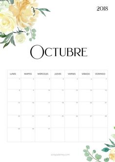 Calendario para imprimir Octubre 2018  #calendario #calendar #octubre #october #freebie #printable #imprimir