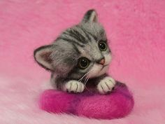 Needle Felted Cute American Shorthair Kitten with Pillow: Miniature Needle Felt Cat, Needle Felting