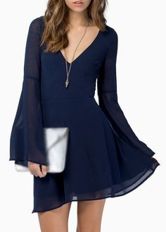 Navy Blue V Neck Long Sleeve Chiffon Dress