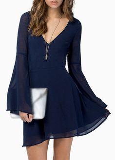 Navy Blue V Neck Long Sleeve Chiffon Dress
