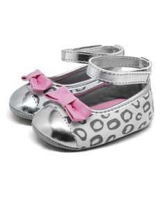 Look at this Stepping Stones Silver Leopard Ankle Strap Flat on #zulily today!
