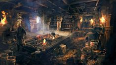 View an image titled 'House Interior Art' in our The Witcher Wild Hunt art gallery featuring official character designs, concept art, and promo pictures. 3d Fantasy, Fantasy Places, Fantasy Setting, Fantasy Landscape, Medieval Fantasy, Fantasy World, Dark Fantasy, Landscape Art, The Witcher 3