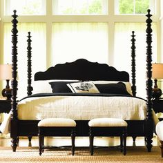 Long Cove Newport Poster Bed in Midnight has whimsical features. This bed has turned pencil posts. The design carried throughout the side rails and the softly shaped headboard panel give this bed character and show the truly fine craftsmanship of the piece.
