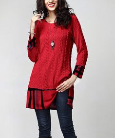 This Red Cable Knit Plaid-Hem Tunic is perfect! #zulilyfinds