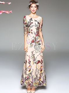 Apricot Floral Embroidered Fit and Flare Maxi Dress by Too Tang, Size Small Mother Of Bride Outfits, Mother Of Groom Dresses, Maxi Dress With Sleeves, Dress Skirt, Embroidery Dress, Floral Embroidery, Costume, Holiday Dresses, Fit And Flare