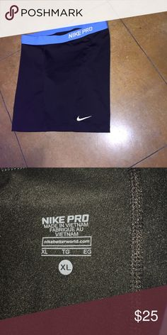 Nike Pro Shorts (XL) Very nice black shorts with blue waist band with lettering NIKE PRO.  Shorts are in great conditions. Nike Shorts