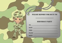 Birthday Invitation Template Word Army Parties Armys Party Themes Happy