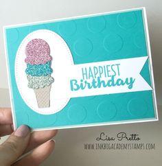 Stampin'Up! cool Treats bundle, Happy Birthday card, glimmer paper Saleabration sneak peek #lisapretto #inkbigacademystamps