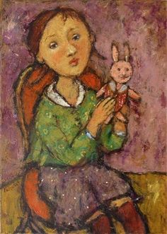 GIRL WITH BUNNY by Svetlana Kurmaz, oil on canvas, 70x50cm, 2009 © Svetlana Kurmaz Oil On Canvas, Folk Art, Bunny, Image, Paintings, Shapes, Artists, Popular Art, Paint