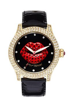 Betsey Johnson Red Lip Dial Patent Leather Strap Watch, 41mm available at #Nordstrom