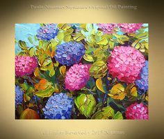Hydrangea Medium: Oil, Acrylic on canvas. Thick paint. Painted using palette knives. Made to order. New and in excellent condition. Size: 24 x 18 x 3/4 deep Painted on canvas mounted around wood, wired and ready to hang. Sides are painted in black. Final coat of varnish has been applied for protection. A signed Certificate Of Authenticity will be included with the painting. Shipping, payment, returns policies: http://www.etsy.com/shop/Nizamas/policy Let to...