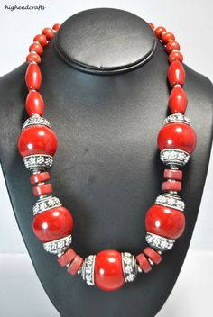 BIG AND BOLD EXCEPTIONAL RED TIBETAN SILVER HOLDING RED BEADS NECKLACE/STATEMENT #highendcrafts #necklace