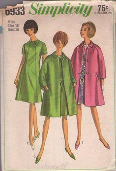 MOMSPatterns Vintage Sewing Patterns - Simplicity 6933 Vintage 60's Sewing Pattern BRILLIANT Mod Flattering Front Panel Party Dress & Tent Coat Size 18