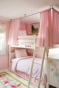 Tent Bunk Beds - Foter - SHORT curtains, different color, hung a little farther outside the frame.