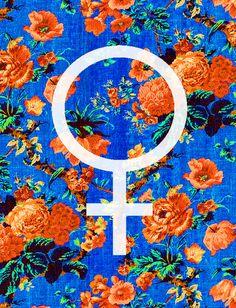 female, symbol, flower, pattern, design, blue, orange, art,