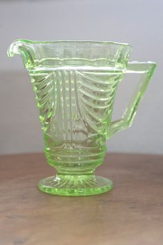 Green Depression Glass Jug by VivaVivaVintage on Etsy