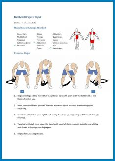 Kettlebell Figure Eight Skill Level: Intermediate Main Muscle Groups Worked Lower Back Middle Back Trapezius La. Kettlebell Routines, Kettlebell Challenge, Kettlebell Circuit, Kettlebell Swings, Rope Training, Weight Training, Latissimus Dorsi, Suspension Training, Fit Board Workouts