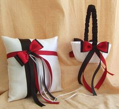 Red and Black Wedding Accessories Flower Girl Basket and Pillow Set,  Red and Black Wedding Colors. $55.00, via Etsy.
