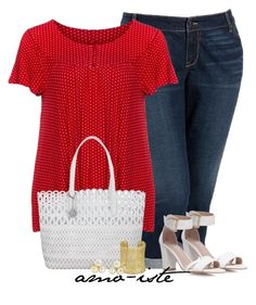 """Red & White - Plus Size"" by amo-iste ❤ liked on Polyvore featuring Old Navy, Manon Baptiste, Carvela Kurt Geiger, DKNY, Kendra Scott and Vintage"