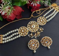 Indian Jewelry Sets, Indian Wedding Jewelry, Bridal Jewelry, Gold Jewelry, Bollywood Jewelry, Bollywood Fashion, Pearl Choker, Necklace Set, Earring Set