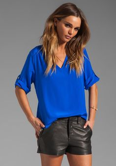AMANDA UPRICHARD Staci V-Neck Top in Royal at Revolve Clothing - Free Shipping!