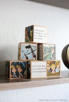 Convert an old children's book into a set of blocks for the baby's nursery. So cute!