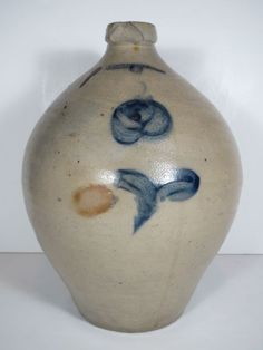 Early 19thC ovoid jug with cobalt rose decoration * ebay.