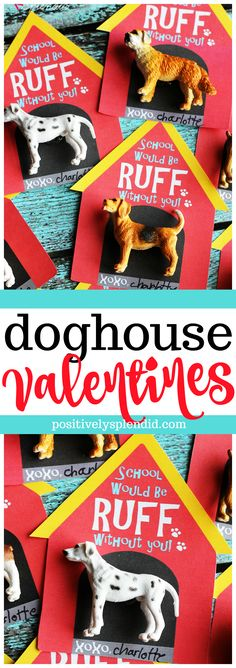 Printable Doghouse Valentine Cards for Kids #valentinecard #kidsvalentinecard #valentineprintable #valentinesday