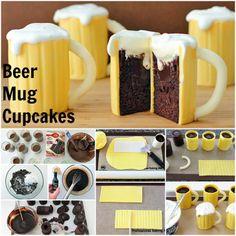 beer mug cupcake Beer Mug Cake, Beer Cupcakes, Themed Cupcakes, Baking Cupcakes, Beer Mugs, Cake Baking, Mug Cupcake, Cupcake Cakes, Cup Cakes