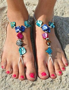 My mom might be able to make this!!!!! Pink & Blue Elegant Shell Barefoot Sandals ♥ L.O.V.E.