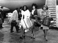 The Supremes arriving in style at London's Heathrow Airport in March 1965. Photo by Evening Standard/Getty Images.