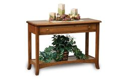 Amish Carlisle Open Sofa Table with Drawer