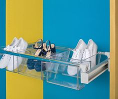 A truly innovative option for drawer-like storage, ideally suited for, but not limited to, wardrobes. A pull out frame that adjusts for spaces from 750mm to 1150mm wide, plus tough polycarbonate boxes that slot onto the frame. Contents are easily visible in these clear boxes that come in three sizes. Shown here - three of the two-space boxes, idea for shoe storage. Order the frame and the boxes you desire, or order one of our complete kits.
