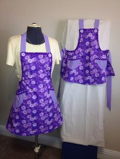 Lavender in Bloom full aprons Child and Womens Purple by KaysKnit