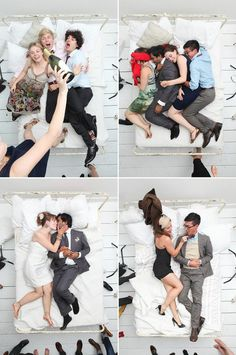 Atrevido y divertidísimo photocall para boda hecho con una cama, ¿te animas?