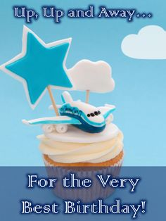 A sweet airplane (complete with cloud and star) is ready to take off for some birthday fun, on top of a delicious cupcake. What a great way to wish a special little boy an uplifting celebration. As he gets readyto turn another year older, he'll be so excited to know you're thinking of him, and even if you can't be there, you want to make turning another year older even more exciting. Free Birthday Card, Birthday Cards For Boys, Birthday Greeting Cards, Birthday Fun, Birthday Greetings, Another Year Older, Birthday Reminder, Birthday Calendar, Yummy Cupcakes