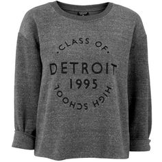 Topshop 'Detroit' Brushed Crewneck Sweatshirt ($50) ❤ liked on Polyvore featuring tops, hoodies, sweatshirts, topshop, long sleeve jersey, long sleeve sweatshirt, long sleeve jersey top and crew neck sweatshirts