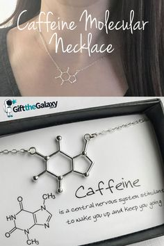 Caffeine Molecule Necklace found on GiftTheGalaxy.com >> Perfect Gift Ideas for Caffeine Lovers >> Caffeine Humor Caffeine Alternatives Caffeine Withdrawal Caffeine Tattoo Caffeine Quotes Jewelry Jewellry Necklace Sterling Silver Coffee Lovers Charm Pendant Science Love Unique Funny Made with Molecules I F*cking Love Science >> Space Gifts found on GiftTheGalaxy.com #GiftTheGalaxy