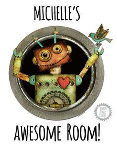 "Robot Art Print - 8""x10"" Personalized Print - Robot Gift - Robot Door Art - Kids Birthday Gift - Robot decor - Robin Davis Studio"