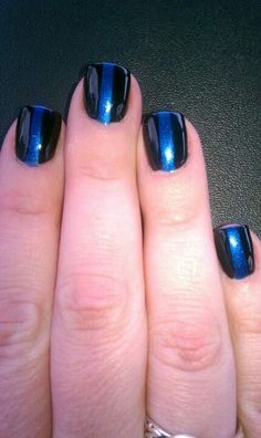 "Nail design, in honor of all the police officers out there. ""The Thin Blue Line """