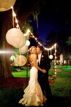 simple paper lanterns and string lights wedding decor