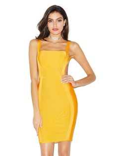 new fashion sample yellow bodycon bandage dress with backless design wholesale